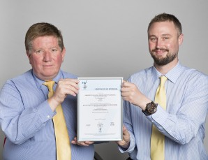 Photo: (l-r) Simon Cooke (UCL's Fire Safety Manager) and Keith Todd (UCL's Fire Safety Officer) holding their NSI Certificate of Approval. Pic Source: nsi.org.uk